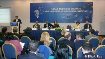View from the copnference: Media Freedom and the European Integration of Albania held in Tirana yesterday, organized by EU. Author: Ani Ruci, shot on January 16th, Tirana Ani Ruci DW correspondent.