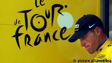 ©PHOTOPQR/L'EST REPUBLICAIN ;STOCK PICTURES Lance Armstrong has been stripped of the seven cycling titles that made him a legend. The International Cycling Union announced Monday that Armstrong is being stripped of his Tour de France titles. SPORT - TOUR DE FRANCE 2005 - CYCLISME - ETAPE COURCHEVEL - BRIANCON - ARRIVEE. Briançon 13 juillet 2005. Lance ARMSTRONG maillot Jaune. PHOTO Alexandre MARCHI.