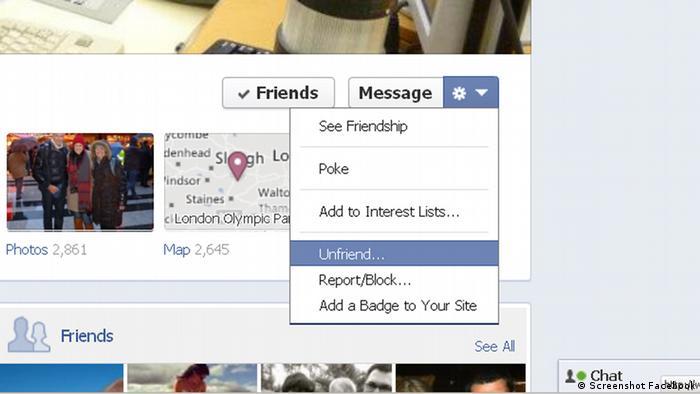 Screenshot Facebook Unfriend Option Button (Screenshot Facebook)
