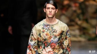A model wears a creation of Dolce & Gabbana men's Fall-Winter 2013-14 collection, Photo:Antonio Calanni/AP/dapd