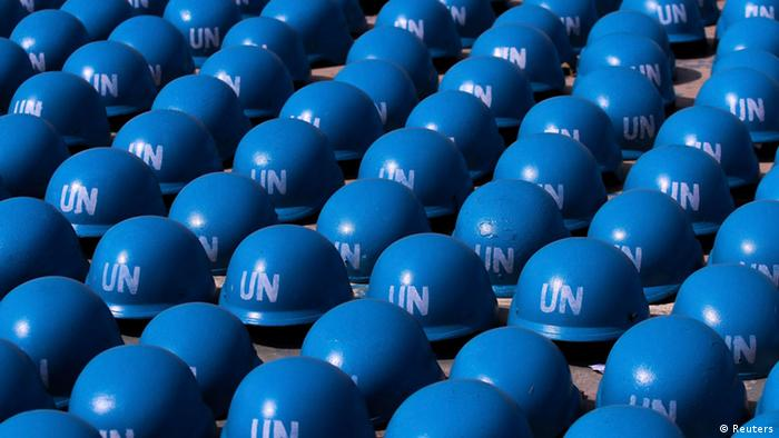 UN Blue Helmets belonging to soldiers of the Nigerian army : (Photo: REUTERS/Afolabi Sotunde)