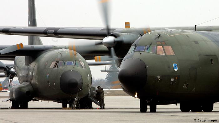 LANDSBERG, GERMANY - MARCH 24: A German Transall C-160 Military plane rolls on an airfield after the return from a mission in Sudan, Africa, on March 24, 2006 at the airbase in Penzing near Landsberg, Germany. The mission in Sudan called African Union Mission in Sudan (AMIS), and is the support to move 500 soldiers from Tschad to Sudan. (Photo by Jan Pitman/Getty Images)