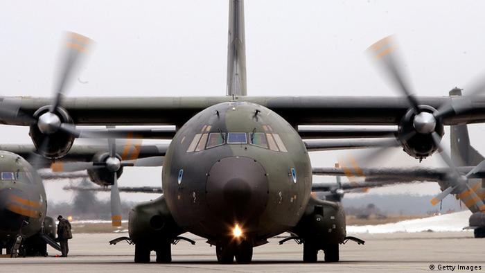 A German Transall C-160 military plane travels to park on an airfield (Photo by Jan Pitman/Getty Images)