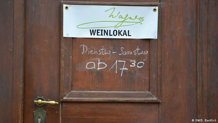 The door to a wine bar in Leipzig bearing Wagner's name Copyright: DW/S. Bartlick
