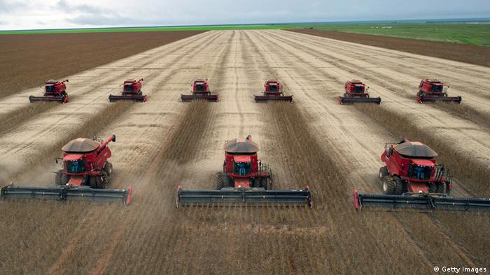 Combine harvesters crop soybeans during a demonstration for the press, in Campo Novo do Pareciso, Brazil