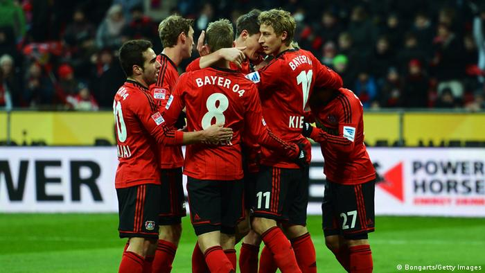 GettyImages 159716178 LEVERKUSEN, GERMANY - JANUARY 19: Stefan Kiessling of Leverkusen celebrates with team mates after scoring his teams second goal during the Bundesliga match between Bayer 04 Leverkusen and Eintracht Frankfurt at BayArena on January 19, 2013 in Leverkusen, Germany. (Photo by Lars Baron/Bongarts/Getty Images)