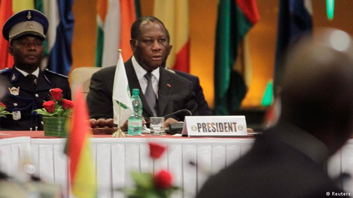 Ivory Coast President Alassane Ouattara is seen during an extraordinary summit of West African regional bloc ECOWAS on the crisis in Mali and Guinea Bissau, at a hotel in Abidjan January 19, 2013. African leaders meeting in Ivory Coast on Saturday are expected to sign off on a regional mission that is due to take over from French forces fighting al Qaeda-linked militants in Mali, but is still short on financing and planning. REUTERS/Thierry Gouegnon (IVORY COAST - Tags: POLITICS CIVIL UNREST)
