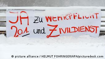 This poster reads yes to military service FOTO: HELMUT FOHRINGER - 20130117_PD2930