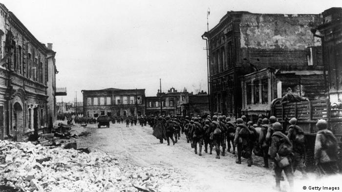 Red Army reinforcements arrive in Stalingrad during World War II to recapture the city from the German 6th Army.