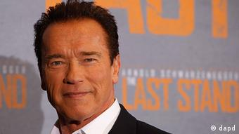 Arnold Schwarzenegger at a press conference in Cologne for his recent film, The Last Stand
