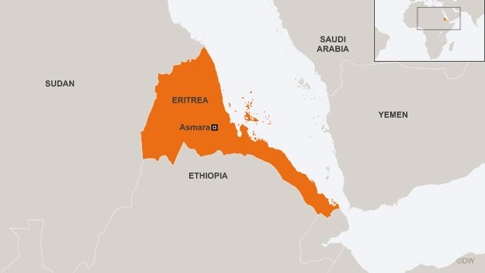 Map showing Eritrea and Ethiopia