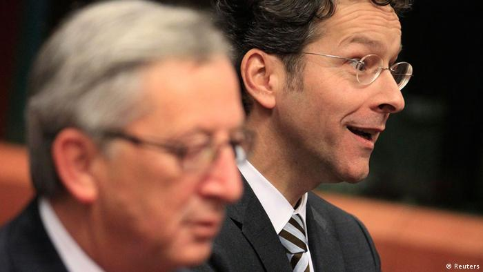 Luxembourg's Prime Minister and Eurogroup Chairman Jean-Claude Juncker (L) and the Netherlands' Finance Minister Jeroen Dijsselbloem (r.) (Photo via REUTERS/Yves Herman)