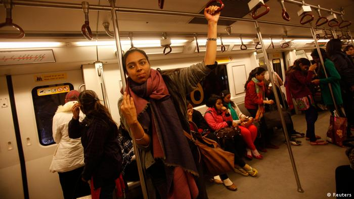 Simrat, 24, who works for a non-profit arts organisation, travels in the women's compartment of a metro in New Delhi January 12, 2013. I made the decision to use public transport as my primary way of moving through the city because I really believe that it is my right to be able to use public space, just as much as it is of any man's, Simrat said. Not using the metro or an auto or a bus or a cycle rickshaw (because it might not be a safe thing to do) is not an option in my mind because if I stop myself from living my life in ways that are most convenient to me, I'm giving into fear and ceding my independence. I use the metro because it's the most convenient travel option for me and I will continue to do so. Since a medical student died after being gang raped on a bus in New Delhi, the issue of women's security in India has been under the spotlight. Picture taken January 12, 2013. REUTERS/Mansi Thapliyal (INDIA - Tags: CRIME LAW SOCIETY) ATTENTION EDITORS: PICTURE 17 OF 20 FOR PACKAGE 'VOICES OF INDIAN WOMEN' SEARCH 'MANSI WOMEN' FOR ALL IMAGES