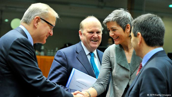 From left: EU economic and monetary affairs commissioner Olli Rehn, Irish Finance Minister Michael Noonan, Danish Economy Minister Margrethe Vestager and Portuguese Finance Minister Vitor Gaspar talk on January 22, 2013 GEORGES GOBET/AFP/Getty Images