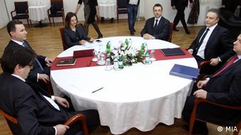 Treffen Premierminister Nikola Gruevski und Branko Crvenkovski SDSM Mazedonien