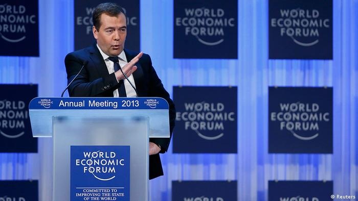 Russia's Prime Minister Dmitry Medvedev addresses the annual meeting of the World Economic Forum (WEF) in Davos January 23, 2013. REUTERS/Denis Balibouse (SWITZERLAND - Tags: POLITICS BUSINESS)