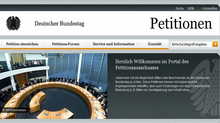 Screenshot of the Bundestag Committee of Petitions website