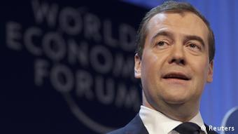 Russia's Prime Minister Dmitry Medvedev in Davos (photo: REUTERS/Denis Balibouse)