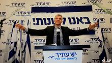 "Yair Lapid gestures as he delivers a speech at his ""Yesh Atid"" party in Tel-Aviv (Photo:Sebastian Scheiner/AP/dapd)"