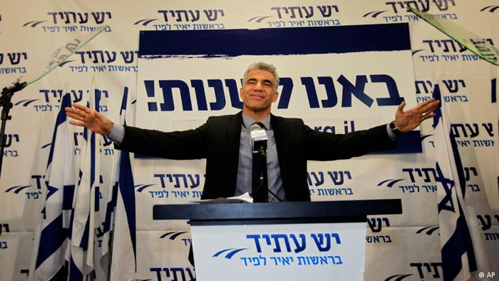 Yair Lapid gestures as he delivers a speech at his Yesh Atid party in Tel-Aviv (Photo:Sebastian Scheiner/AP/dapd)