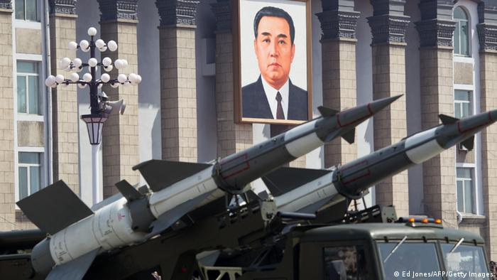 SA-3 ground-to-air missiles are displayed before a portrait of former North Korean leader Kim Il-Sung during a military parade to mark 100 years since the birth of Kim Il-Sung, the country's founder, in Pyongyang on April 15, 2012. The commemorations came just two days after a satellite launch timed to mark the centenary fizzled out embarrassingly when the rocket apparently exploded within minutes of blastoff and plunged into the sea. AFP PHOTO / Ed Jones (Photo credit should read Ed Jones/AFP/Getty Images)