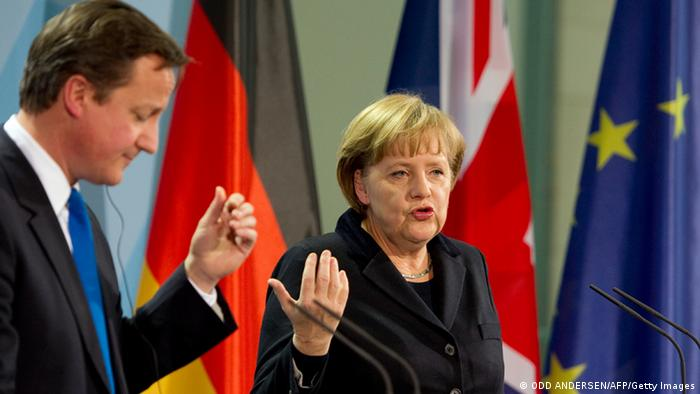 German Chancellor Angela Merkel and Britain's Prime Minister David Cameron give a joint press conference (Photo: ODD ANDERSEN/AFP/Getty Images)