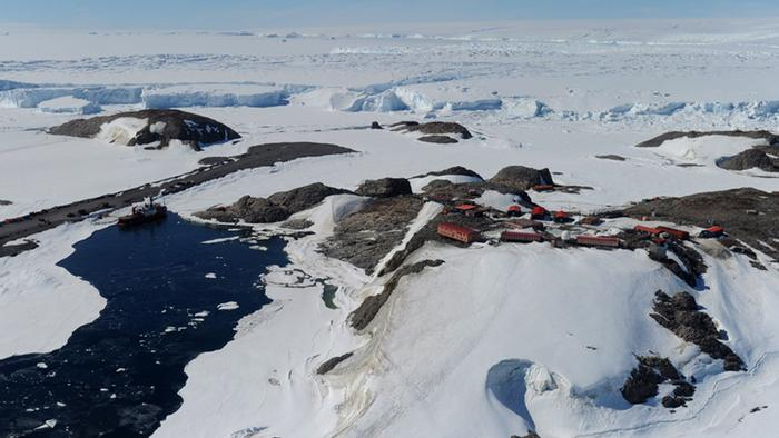 A picture made available on 19 January 2012 shows an aerial view over the French Antarctic base Dumont D'Urville, Antarctica, 17 January 2012. The Australian Antarctic Division charters the plane to transport it's staff between their bases, the French base and McMurdo the US base