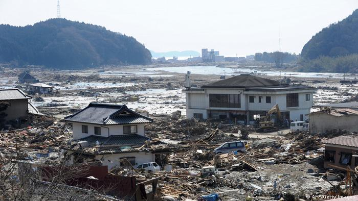 The Takekoma area lies devastated near the town of Rikuzentakata, some five kms from the coast, in Iwate prefecture on March 14, 2011 (Photo: TOSHIFUMI KITAMURA/AFP/Getty Images)