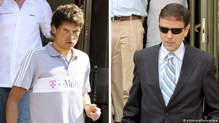 Jan Ulrich in Blaesheim (l, Archivfoto vom 30.06.2006) and Eufemiano Fuentes in Madrid (r, Archivfoto vom 20.07.2006). Fotos: Bernd Weißbrod/Viktor Lerena (zu dpa 0331 vom 17.08.2006) +++(c) dpa - Bildfunk+++