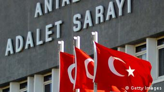 Turkish flags are flown in front of the court of Antalya (Photo: Ilker Akgungor/Getty Images)