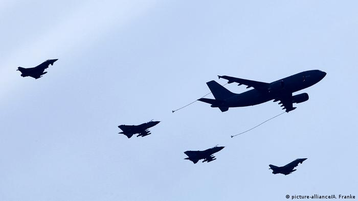 A Bundeswehr simulation of a mid-air refueling at a German air show.