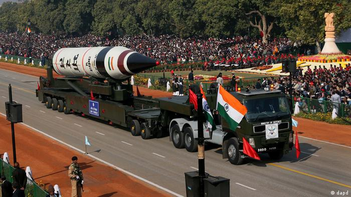 The long range ballistic Agni-V missile is displayed (Photo: AP Photo /Manish Swarup)