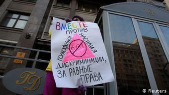 Plakat gegen Unterdrückung von Homosexuellen (Foto: Reuters)