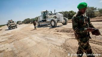 AMISOM combat engineers repair a stretch of road in Somalia's Lower Shabelle area (Photo: Stuart Price)