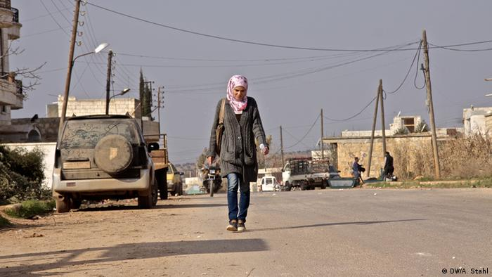 Safa is the only woman in Atmeh who can be seen walking on the street in Atmeh unaccompanied by a male chaperone (Photo: Andreas Stahl)