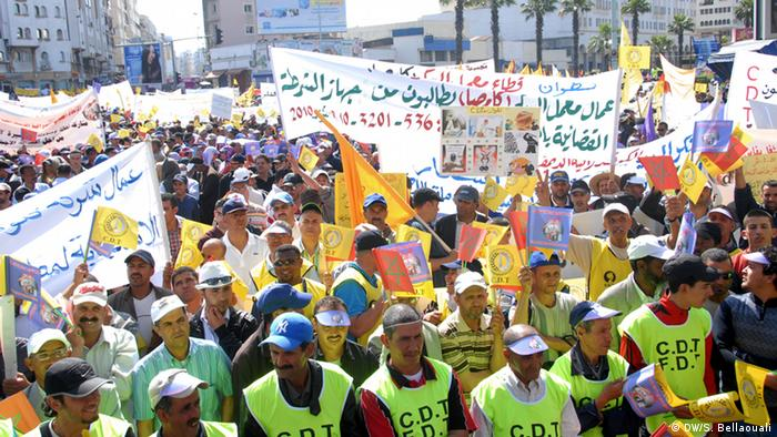 pact between unions and employers in Morocco: union protest march *** Casablanca, May 27, 2012 Copyright: Deutsche Welle, Smail Bellaouali