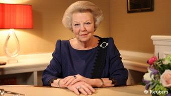 Dutch Queen Beatrix, who turns 75 on Thursday, announces her abdication in favour of her son, Prince Willem-Alexander, in a hastily announced broadcast on Dutch National Television to the nation at her home palace in The Hague in this handout picture dated January 28, 2013. Queen Beatrix became the sixth monarch of the House of Orange in 1980 following the abdication of her mother, Queen Juliana, who reigned for 31 years. REUTERS/RVD/Handout (NETHERLANDS - Tags: ROYALS TPX IMAGES OF THE DAY) NO SALES. NO ARCHIVES. ATTENTION EDITORS - THIS IMAGE WAS PROVIDED BY A THIRD PARTY. FOR EDITORIAL USE ONLY. NOT FOR SALE FOR MARKETING OR ADVERTISING CAMPAIGNS. THIS PICTURE IS DISTRIBUTED EXACTLY AS RECEIVED BY REUTERS, AS A SERVICE TO CLIENTS