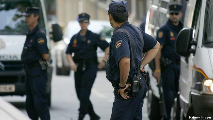 Spanish police patrol outside the National Court i(Photo: PEDRO ARMESTRE/AFP/Getty Images)
