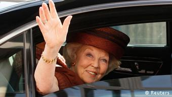 Queen Beatrix of the Netherlands are seen waving farewell in the German-Dutch border town of Herzogenrath-Kerkrade on this April 15, 2011 file photo. Dutch Queen Beatrix will address the nation on television and radio on the evening of January 28, 2013, the Royal Household said in a statement, prompting the Dutch media to report that she would abdicate in favour of her son, Prince Willem-Alexander. REUTERS/Wolfgang Rattay/Files (GERMANY - Tags: ROYALS POLITICS)