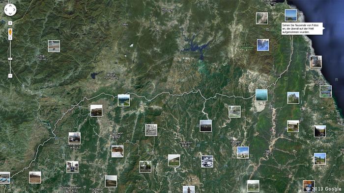Google Maps Nordkorea Karte Unterschied zu Südkorea Grenze +++EINSCHRÄNKUNG BEACHTEN+++