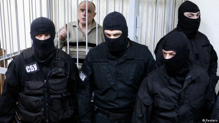 Алексей Пукач на скамье подсудимых во время процесса