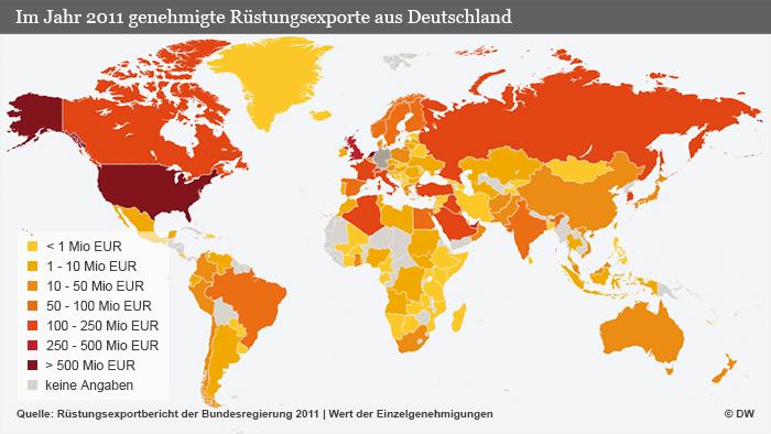 Infografik Rüstungsexporte aus Deutschland 2011 Weltweit