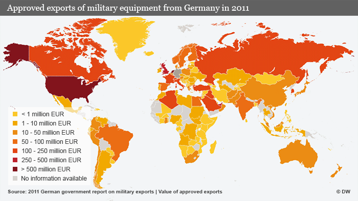 A map of global exports of German military equipment in 2011