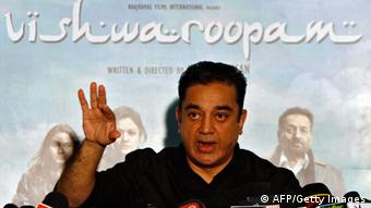 Actor and film-maker Kamal Haasan speaks with the media. REUTERS/Babu