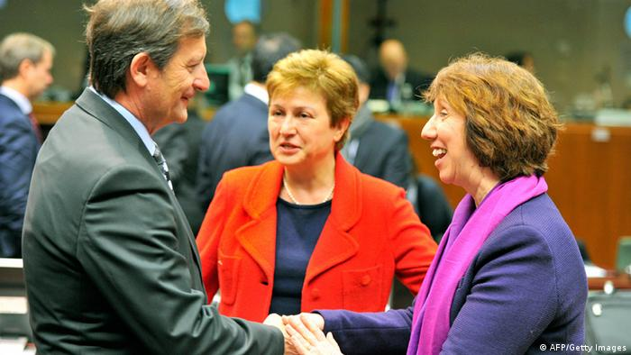 GettyImages 160414414 Slovenia Foreign Affairs minister Karl Erjavec and EU commissioner for International Cooperation, Humanitarian Aid and Crisis Response Kristalina Georgieva and High Representative of the European Union for Foreign Affairs and Security Policy Catherine Ashton (LtR) talk prior to a Foreign Affairs Council on January 31, 2013 at the EU Headquarters in Brussels. The Council will discuss the situation in the EU's southern neighbourhood, in particular in Syria and Egypt, and will prepare the forthcoming European Council debate on the Arab Spring. Ministers will also discuss the priorities of the foreign policy of the new US administration.They will be informed of the situation in Mali and the action taken by the EU in response to the special session of the last Foreign Affairs Council devoted to Mali. AFP PHOTO GEORGES GOBET (Photo credit should read GEORGES GOBET/AFP/Getty Images)