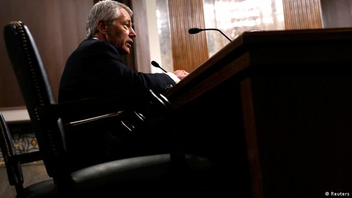 Former U.S. Senator Chuck Hagel (R-NE) testifies during a Senate Armed Services Committee hearing on his nomination to be Defense Secretary, on Capitol Hill in Washington, January 31, 2013. REUTERS/Kevin Lamarque (UNITED STATES - Tags: POLITICS MILITARY)