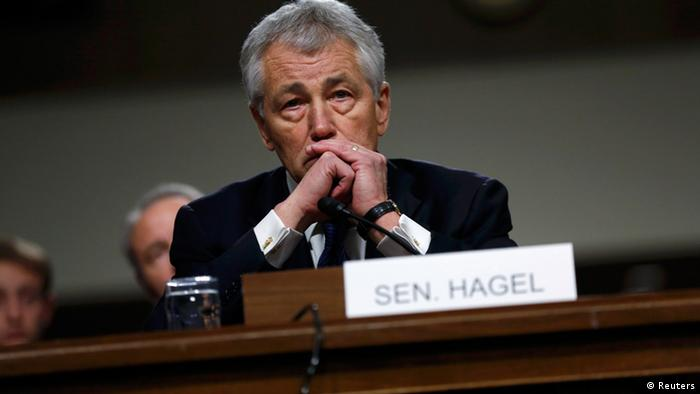 Former U.S. Senator Chuck Hagel (R-NE) testifies during a Senate Armed Services Committee hearing on his nomination to be Defense Secretary, on Capitol Hill in Washington, January 31, 2013. REUTERS/Kevin Lamar