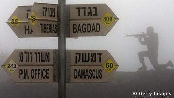A sculpture of an Israeli soldier standing guard is seen next to a sign for tourists showing the different distances to Jerusalem, Baghdad, Damascus and other locations, at an army post in Mount Bental in the annexed Golan Heights on January 31, 2013. (Photo credit JACK GUEZ/AFP/Getty Images)