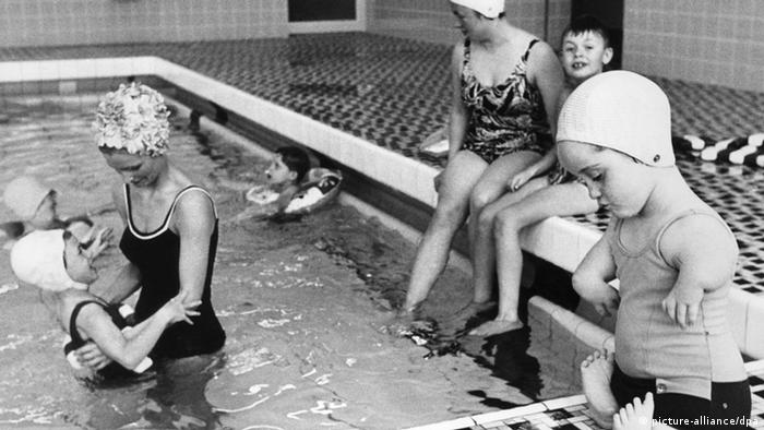 Children deformed by thalidomide in a swimming pool at a special school in Germany in 1969. Photo: dpa