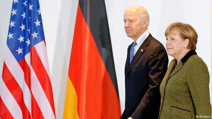 German Chancellor Angela Merkel and U.S. Vice President Joe Biden arrive to make a statement to the media before talks in Berlin February 1, 2013